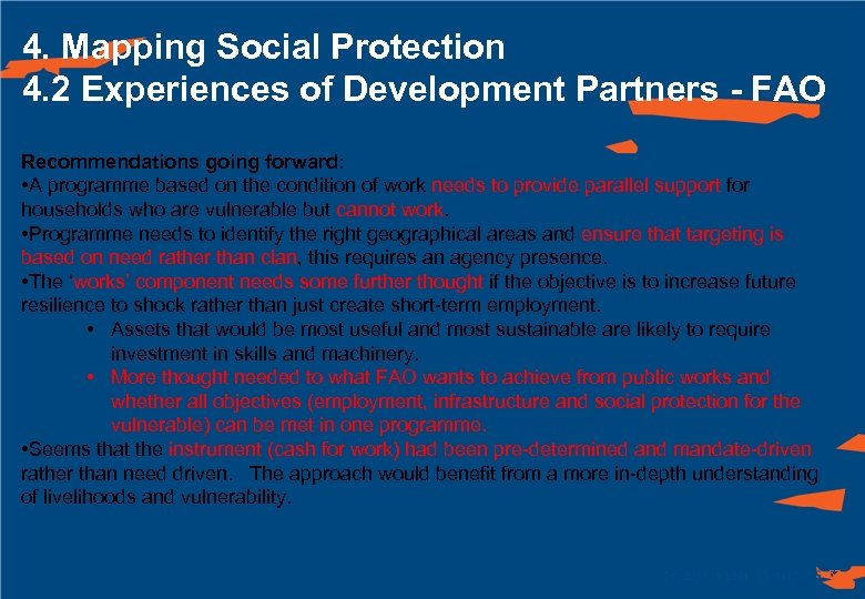 4. Mapping Social Protection 4. 2 Experiences of Development Partners - FAO Recommendations going