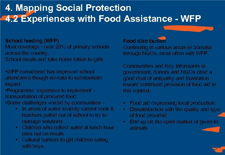 4. Mapping Social Protection 4. 2 Experiences with Food Assistance - WFP School feeding