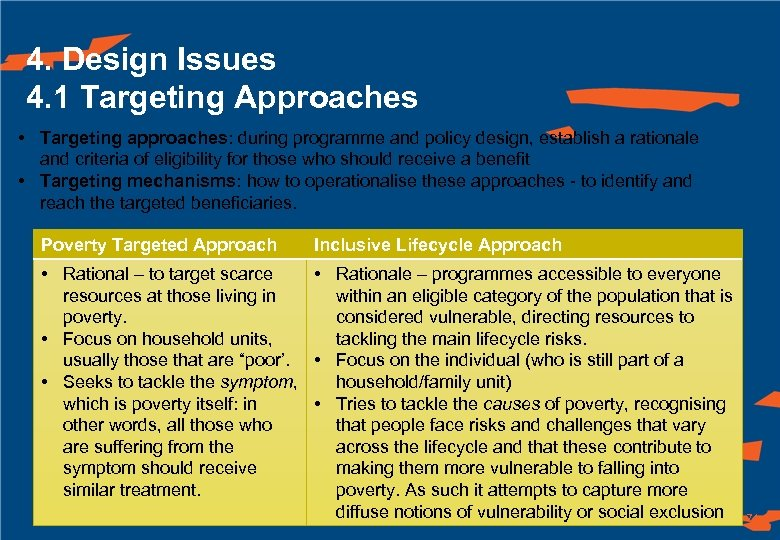 4. Design Issues 4. 1 Targeting Approaches • Targeting approaches: during programme and policy