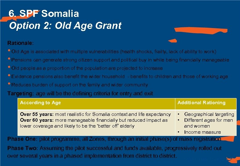 6. SPF Somalia Option 2: Old Age Grant Rationale: • Old Age is associated