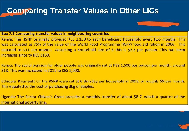Comparing Transfer Values in Other LICs 100