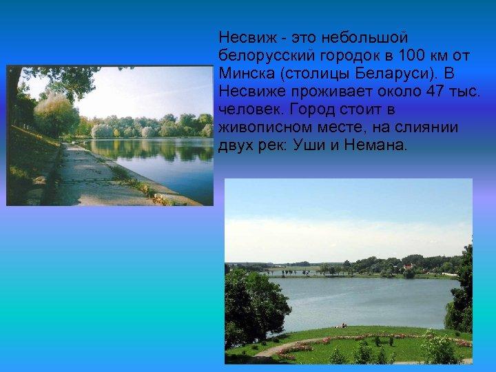 Несвиж это небольшой белорусский городок в 100 км от Минска (столицы Беларуси). В Несвиже