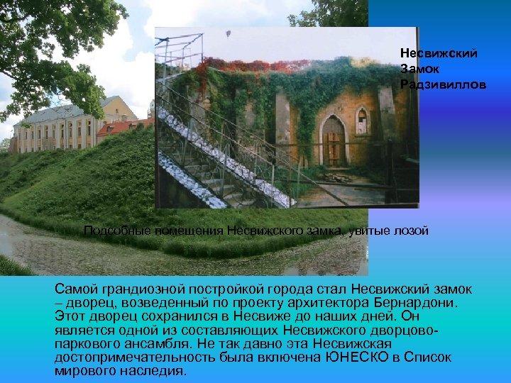 Несвижский Замок Радзивиллов Подсобные помещения Несвижского замка, увитые лозой Самой грандиозной постройкой города