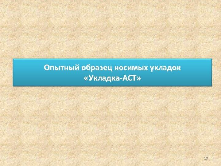 Опытный образец носимых укладок «Укладка-АСТ» 10