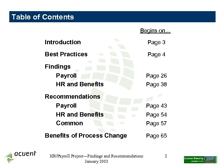 Table of Contents Begins on… Introduction Page 3 Best Practices Page 4 Findings Payroll
