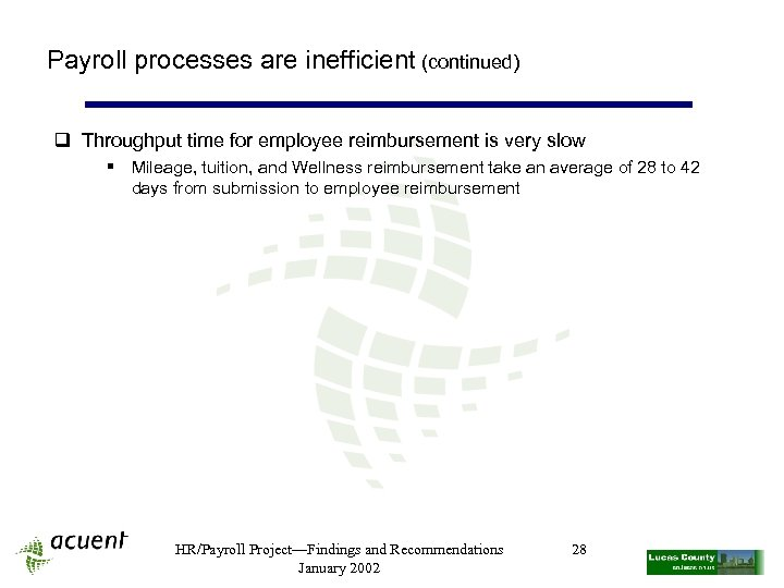 Payroll processes are inefficient (continued) q Throughput time for employee reimbursement is very slow