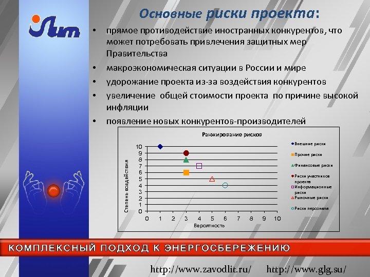 Основные риски проекта: • • прямое противодействие иностранных конкурентов, что может потребовать привлечения защитных