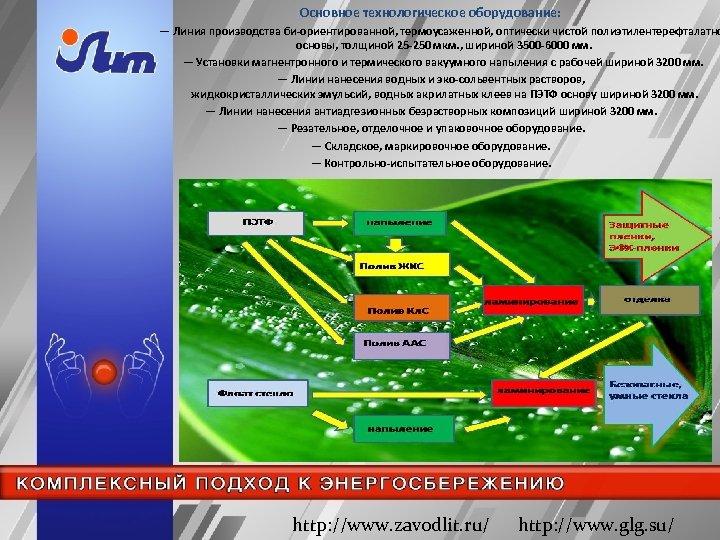 Основное технологическое оборудование: ― Линия производства би-ориентированной, термоусаженной, оптически чистой полиэтилентерефталатно основы, толщиной 25