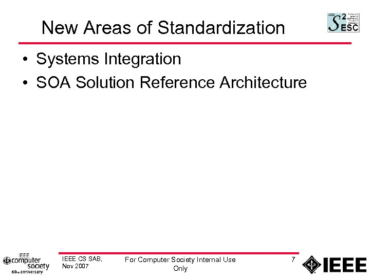 New Areas of Standardization • Systems Integration • SOA Solution Reference Architecture IEEE CS