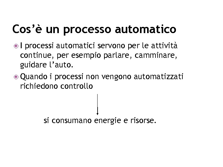 Cos'è un processo automatico I processi automatici servono per le attività continue, per esempio