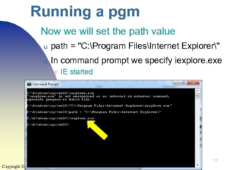 Running a pgm ▮ Now we will set the path value u path =