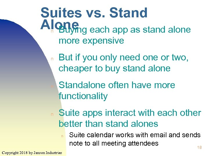 Suites vs. Stand Alone each app as stand alone Buying n more expensive n