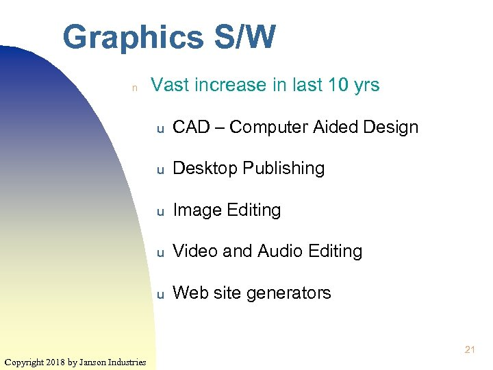 Graphics S/W n Vast increase in last 10 yrs u CAD – Computer Aided