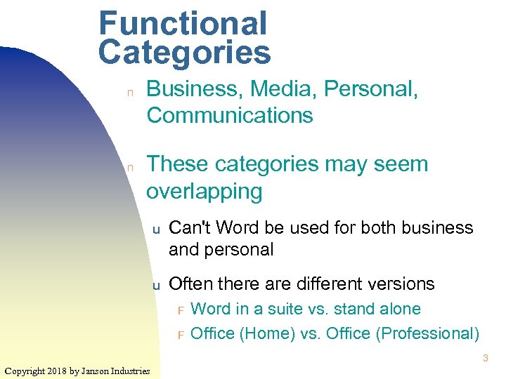 Functional Categories n n Business, Media, Personal, Communications These categories may seem overlapping u