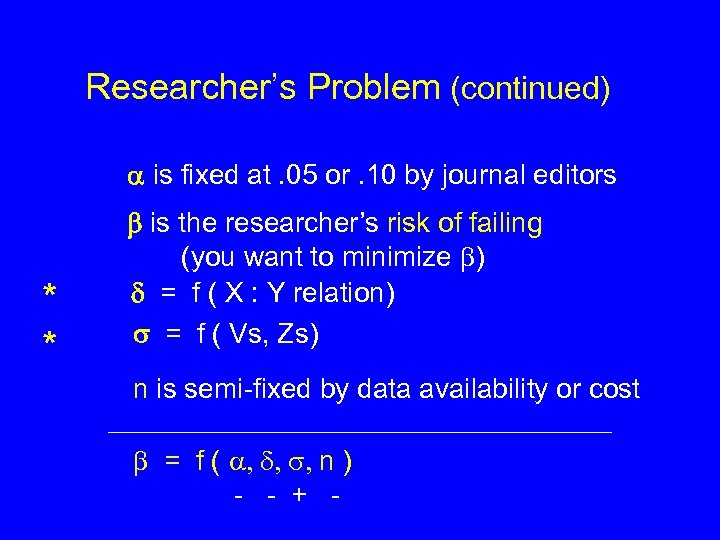 Researcher's Problem (continued) is fixed at. 05 or. 10 by journal editors * *