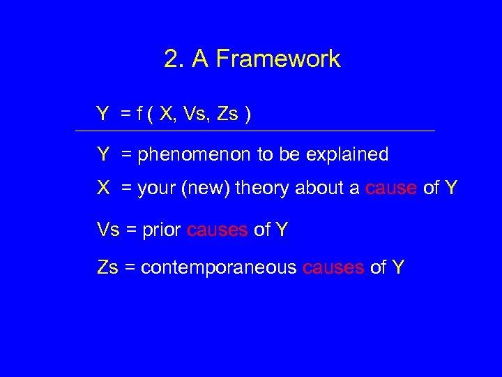 2. A Framework Y = f ( X, Vs, Zs ) Y = phenomenon