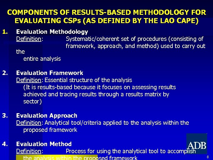 COMPONENTS OF RESULTS-BASED METHODOLOGY FOR EVALUATING CSPs (AS DEFINED BY THE LAO CAPE) 1.