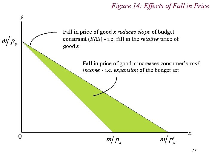 Figure 14: Effects of Fall in Price y Fall in price of good x