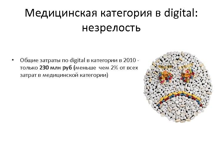 Медицинская категория в digital: незрелость • Общие затраты по digital в категории в 2010