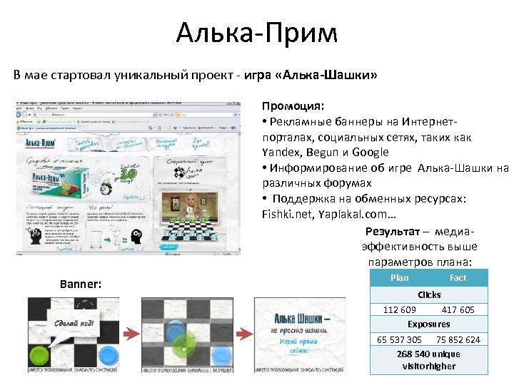 Алька-Прим В мае стартовал уникальный проект - игра «Алька-Шашки» Промоция: • Рекламные баннеры на
