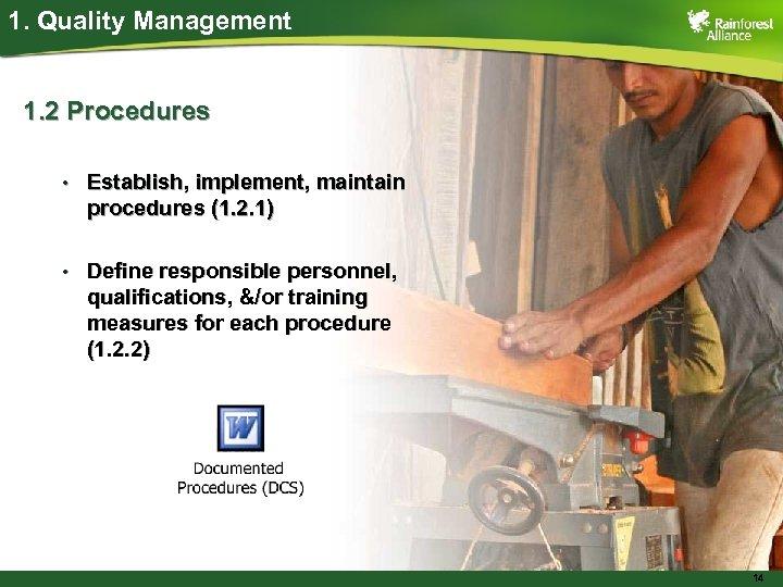 1. Quality Management 1. 2 Procedures • Establish, implement, maintain procedures (1. 2. 1)