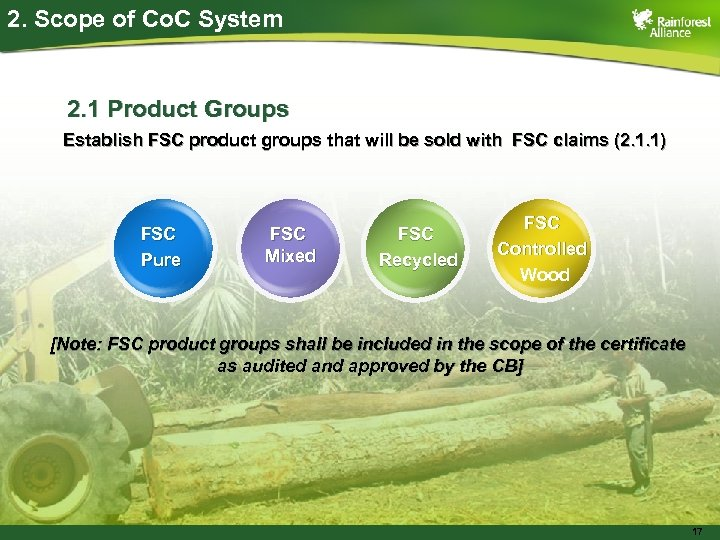 2. Scope of Co. C System 2. 1 Product Groups Establish FSC product groups