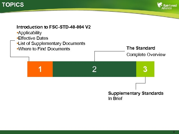 TOPICS Introduction to FSC-STD-40 -004 V 2 • Applicability • Effective Dates • List