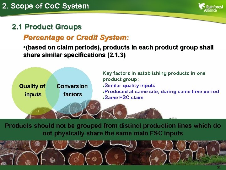 2. Scope of Co. C System 2. 1 Product Groups Percentage or Credit System:
