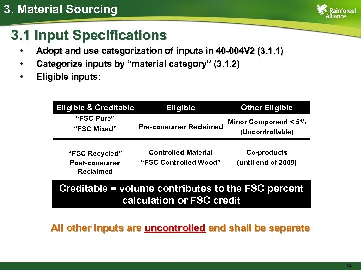 3. Material Sourcing 3. 1 Input Specifications • • • Adopt and use categorization