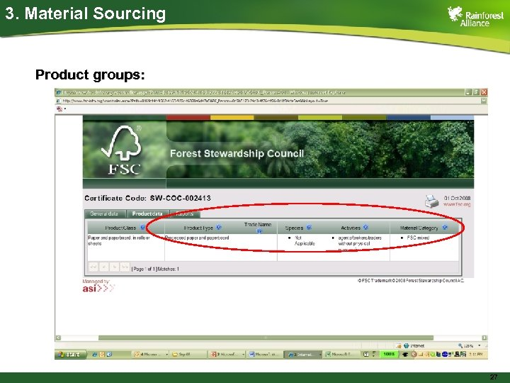 3. Material Sourcing Product groups: 27