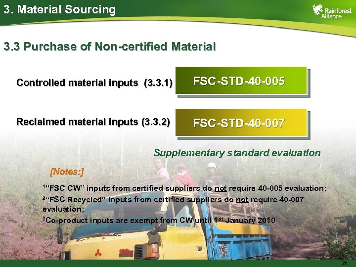 3. Material Sourcing 3. 3 Purchase of Non-certified Material Controlled material inputs (3. 3.