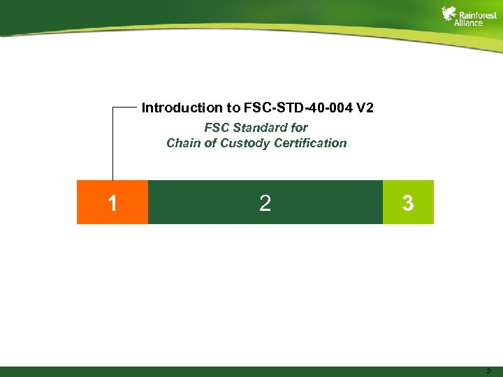 Introduction to FSC-STD-40 -004 V 2 FSC Standard for Chain of Custody Certification 1