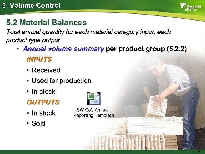 5. Volume Control 5. 2 Material Balances Total annual quantity for each material category