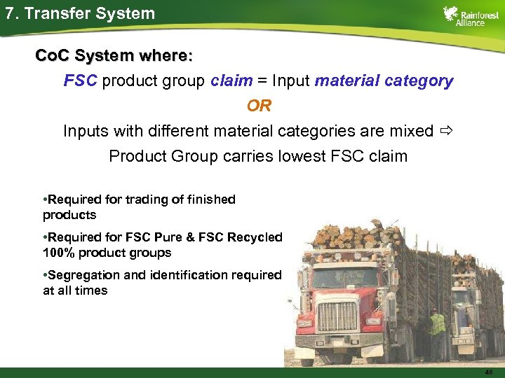 7. Transfer System Co. C System where: FSC product group claim = Input material