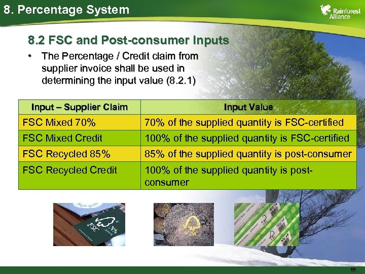 8. Percentage System 8. 2 FSC and Post-consumer Inputs • The Percentage / Credit