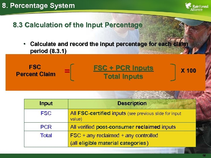 8. Percentage System 8. 3 Calculation of the Input Percentage • Calculate and record