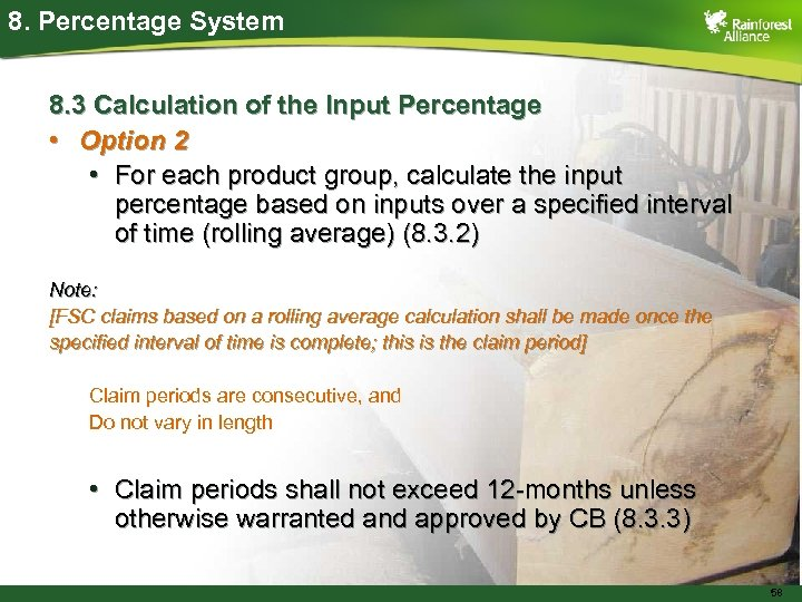 8. Percentage System 8. 3 Calculation of the Input Percentage • Option 2 •