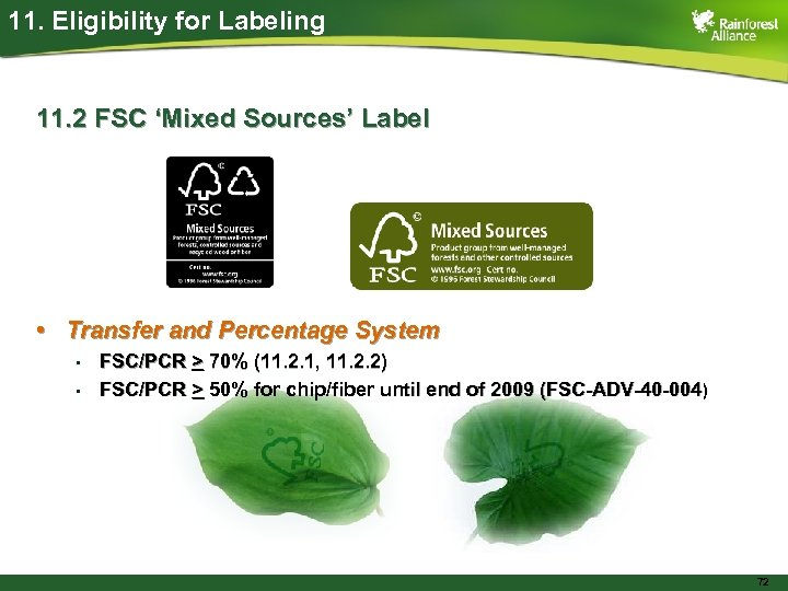 11. Eligibility for Labeling 11. 2 FSC 'Mixed Sources' Label • Transfer and Percentage