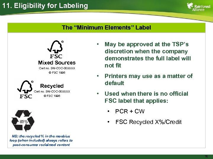 """11. Eligibility for Labeling The """"Minimum Elements"""" Label Mixed Sources Cert no. SW-COC-00 XXXX"""
