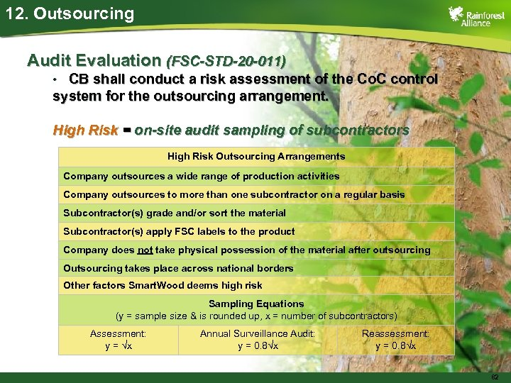 12. Outsourcing Audit Evaluation (FSC-STD-20 -011) CB shall conduct a risk assessment of the