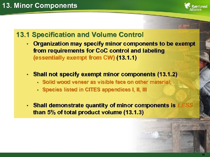 13. Minor Components 13. 1 Specification and Volume Control • Organization may specify minor