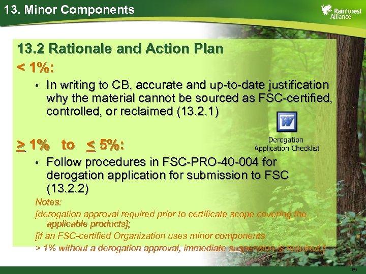 13. Minor Components 13. 2 Rationale and Action Plan < 1%: • In writing