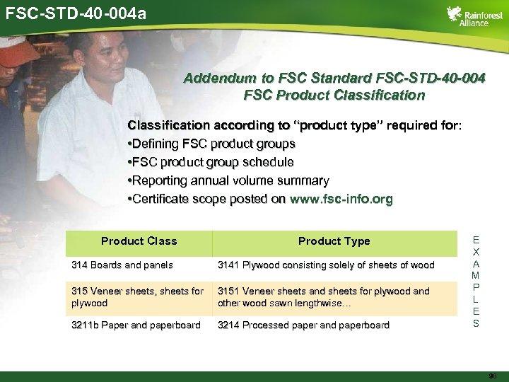 FSC-STD-40 -004 a Addendum to FSC Standard FSC-STD-40 -004 FSC Product Classification according to