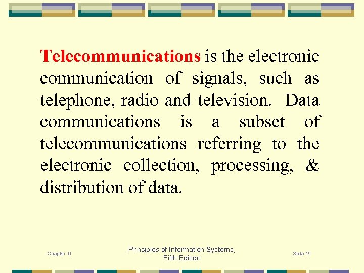 Telecommunications is the electronic communication of signals, such as telephone, radio and television. Data