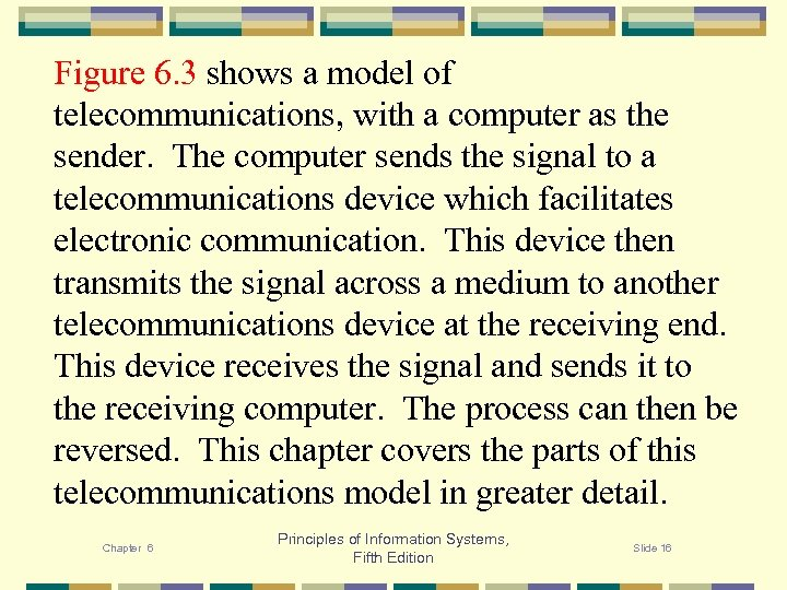 Figure 6. 3 shows a model of telecommunications, with a computer as the sender.