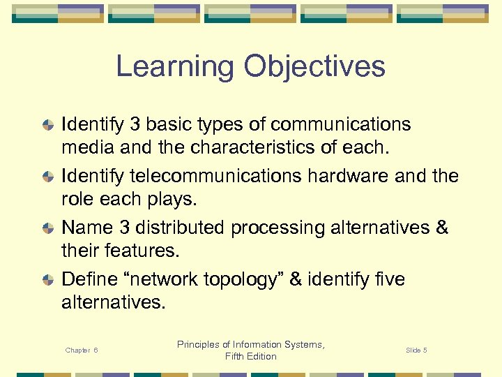 Learning Objectives Identify 3 basic types of communications media and the characteristics of each.