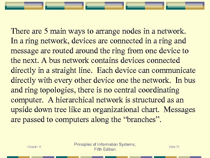 There are 5 main ways to arrange nodes in a network. In a ring