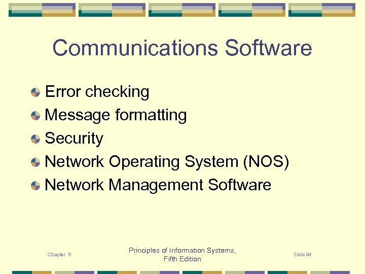 Communications Software Error checking Message formatting Security Network Operating System (NOS) Network Management Software