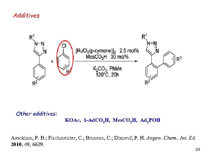 Additives Other additives: KOAc, 1 -Ad. CO 2 H, Mes. CO 2 H, Ad