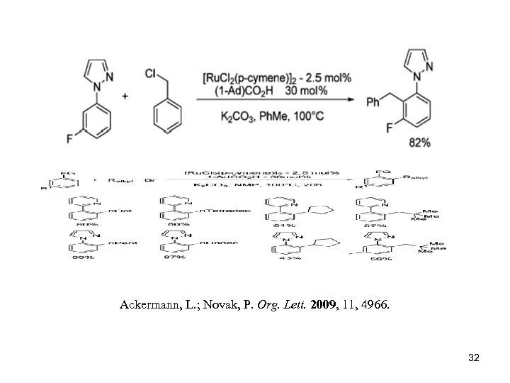 Ackermann, L. ; Novak, P. Org. Lett. 2009, 11, 4966. 32